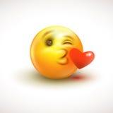 Sentiment mignon dans l'émoticône d'amour d'isolement sur le fond blanc - emoji, smiley - dirigez l'illustration Photographie stock