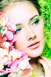 Sentiment. Portrait of a beautiful girl with flowers. Spring Stock Photos