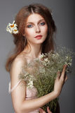 Sentiment. Portrait Of Redhair Nostalgic Woman With Herbs Stock Image