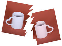 A sentimental couple. This pair of cups represent a couple sentimental, through color and forms Stock Photo