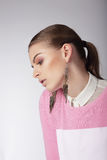 Sentimental Dreamy Woman in Pink Blouse Stock Photography