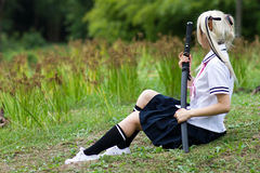 Sentimental samurai girl Royalty Free Stock Image