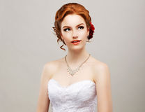 Sentimentality. Romantic Red Hair Woman with Flower in her Head. Femininity stock photo