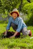 Sentimento aposentado ruivo da mulher feliz após ter plantado a árvore imagem de stock royalty free