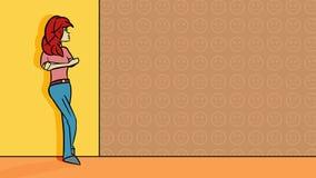 Sentimento infeliz da mulher excluído - ilustração ilustração stock