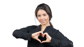 Sentiments d'amour, la main de la belle fille dans la forme de coeur, geste Images stock