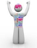 Sentiments heureux de Person Emtions Showing Joy Good Image libre de droits