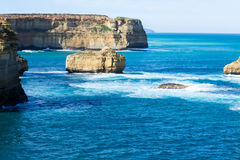 Sentinal rocks in the sea by the Great Ocean Road Stock Image