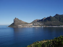 The Sentinel, Hout Bay - Cape Town. The Sentinel mountain guarding the entrance to Hout Bay harbour, Cape Town, South Africa stock photography