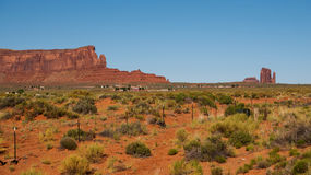 Sentinel Mesa. & x28;left& x29; and West Mitten Butte & x28;right& x29; seen from the Utah, Arizona State line on Monument Valley Road stock images