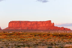 Sentinel Mesa in Monument Valley. The rock formation Sentinel Mesa in Monument Valley in evening light Stock Images
