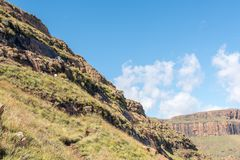 Sentinel Trail to the Tugela Falls in the Drakensberg stock photography