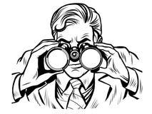 Sentinel watchman with binoculars line art Stock Image