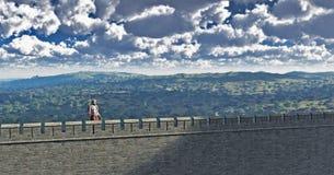 Sentinelle romaine sur le mur de Hadrian illustration libre de droits
