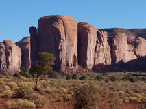 Sentinels. Red rock formation in the Monument Valley of the Southwest Stock Photography
