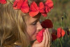 Sentire l'odore dei papaveri Fotografia Stock Libera da Diritti