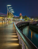 Sentosa boardwalk. Colorful lights at the water front Royalty Free Stock Image