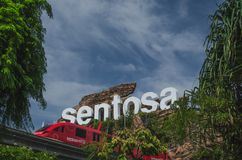 Sentosa island sign and monorail at the front, SIngapore stock photos