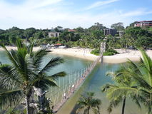 Sentosa Island Singapore. Bridge in Sentosa Island Singapore with the beach and blue sky Stock Photos