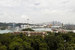 SENTOSA, SINGAPORE, December 15, 2017: Aerial view from Cable car Stock Image