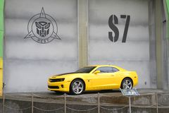 SENTOSA, SINGAPUR - 12. APRIL 2016: TRANSFORMATOREN Chevrolet-Nocken Lizenzfreie Stockbilder