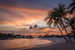 Sentosa solnedgång Arkivbilder
