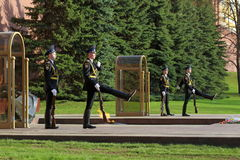 Sentries of the honor guard marching at the eternal flame Royalty Free Stock Photo