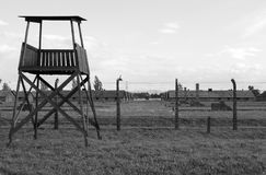 Sentry box at Auschwitz Birkenau Stock Photos