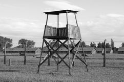 Sentry box at Auschwitz Birkenau Royalty Free Stock Photos
