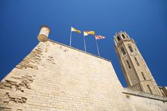 Sentry box at Lleida cathedral Stock Images