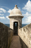 Sentry Box - San Juan, Puerto Rico. One of the many sentry boxes in the wall of the El Morro fort in Old San Juan, Puerto Rico Royalty Free Stock Images