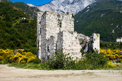 Sentry serf tower on coast, Athos. Sentry serf tower on coast, Ruins, Near  Sacred Pavel's orthodox monastery, Athos, Halkidiki, Greece Royalty Free Stock Photography