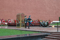 Sentry stands at the Eternal Flame. Moscow. Russia Stock Photos