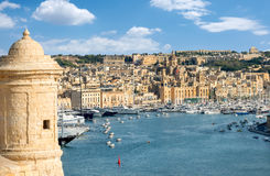 Sentry tower and view to Grand Harbour. Valletta, Malta Stock Photo