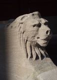 SentryLions_1. Stone lions stand sentry at the steps Stock Photography