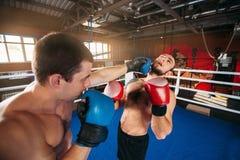 Sents del boxeador su opositor al golpe de gracia Fotografía de archivo libre de regalías
