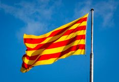 Senyera Επίσημη σημαία της Καταλωνίας στοκ εικόνες με δικαίωμα ελεύθερης χρήσης