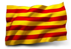 Senyera flagga av Catalonia Stock Illustrationer