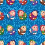Senza cuciture, bambole e modello floreale Immagine Stock Libera da Diritti