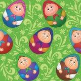 Senza cuciture, bambole e reticolo floreale Immagine Stock Libera da Diritti