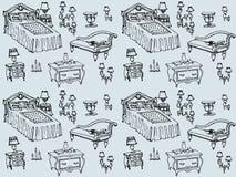 Senza cuciture blu della camera da letto 2 stabiliti della mobilia Fotografia Stock Libera da Diritti