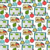Senza cuciture colorato di nuovo al modello della scuola con gli elementi stazionari e creativi dei rifornimenti Linea sveglia di illustrazione di stock