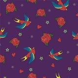 Senza cuciture con gli uccelli, le rose e le stelle Illustrazione di Stock