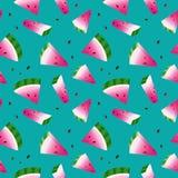 Senza cuciture con le angurie, fondo verde illustrazione vettoriale