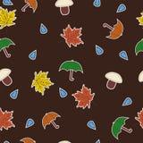 Senza cuciture con le foglie, gli ombrelli, i funghi e la goccia di acqua Illustrazione Vettoriale