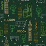 Senza cuciture disegnato a mano delle vie verdi di Londra di vettore Immagine Stock