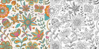 Senza cuciture floreale astratto Doodle disegnato a mano Immagine Stock Libera da Diritti