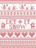 Senza cuciture lascilo nevicare stile scandinavo del tessuto, ispirato dal Natale norvegese, modello festivo dell'inverno in punt Fotografia Stock