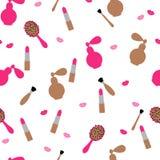 Senza cuciture, modello Cosmetici e gli accessori delle donne nel rosa e nel colore beige su un fondo bianco Vettore piano royalty illustrazione gratis