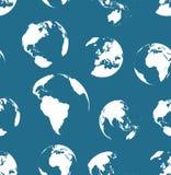 Senza cuciture nessun modello dei globi di contorni Colore dei blu navy Fotografie Stock